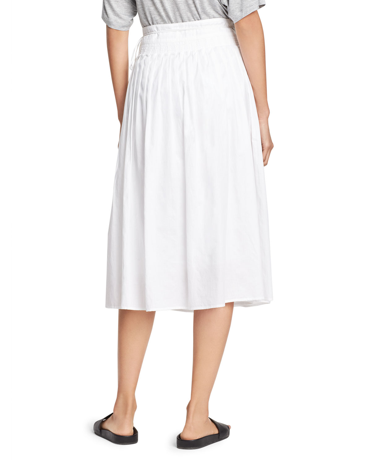 cd0dee3688 Vince Stitch-Pleated Wrap Midi Skirt, White | Neiman Marcus