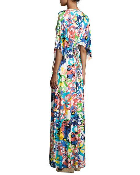 Floral-Print Caftan Maxi Dress, Plus Size