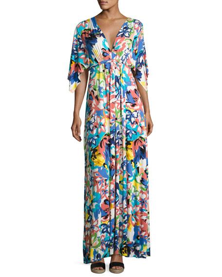 Floral-Print Caftan Maxi Dress
