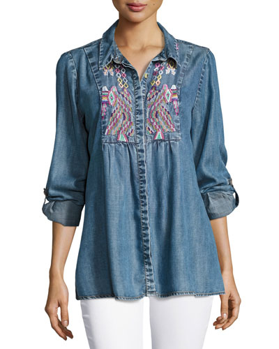 Kristy Embroidered Chambray Shirt, Plus Size