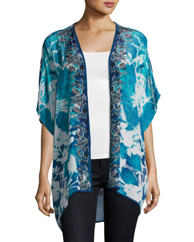 Noelle Printed Jacket, Blue, Plus Size