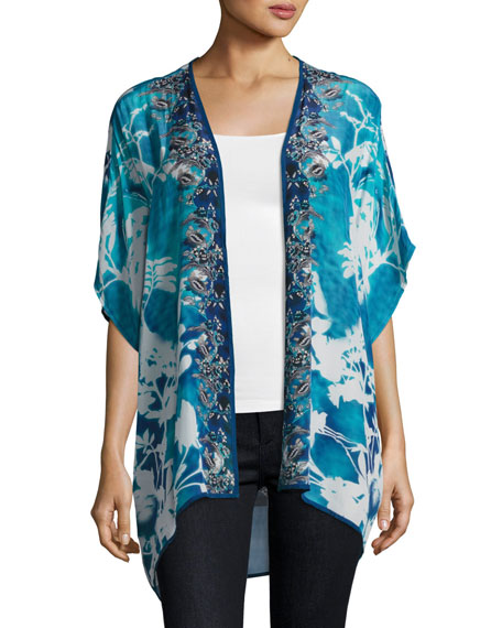 Tolani Noelle Printed Jacket, Blue, Plus Size