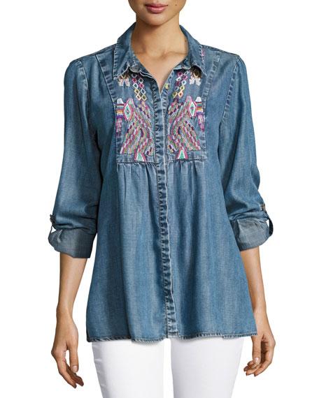 Tolani Kristy Embroidered Chambray Shirt