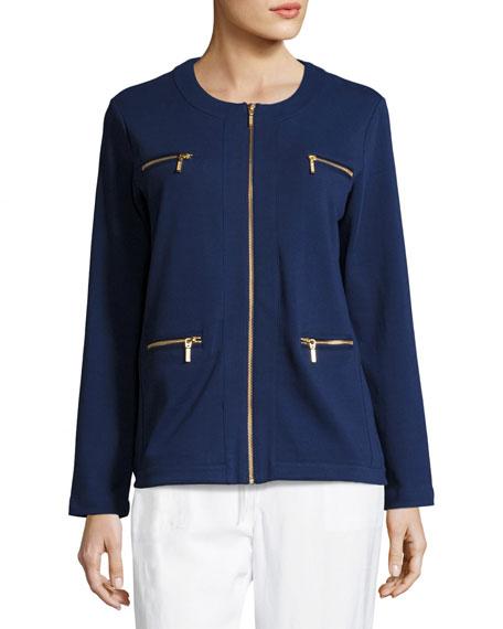 Joan Vass Petite Stretch Interlock Zip-Front Jacket