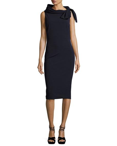 Badgley Mischka Sleeveless Tie-Neck Cocktail Dress, Navy