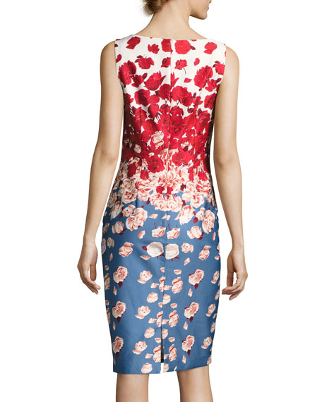 Sleeveless Floral Cocktail Dress, Blue/Red