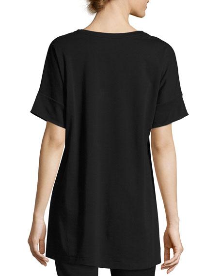 Short-Sleeve Tunic w/ Paillette Flowers, Black