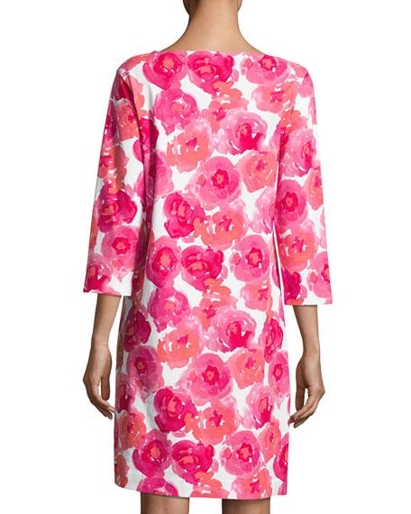 3/4-Sleeve Floral-Print Dress, Plus Size
