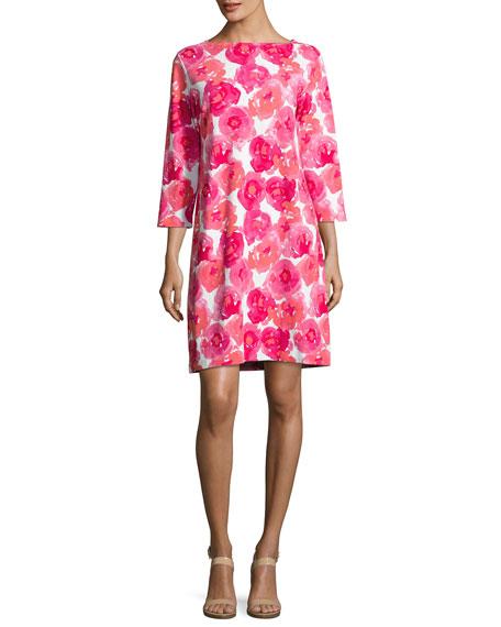 Joan Vass 3/4-Sleeve Floral-Print Dress, Plus Size