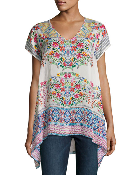 Johnny Was Trends Short-Sleeve Printed Top