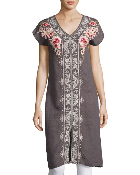 Johnny Was Christine Front-Slit Linen Dress, Gray, Plus