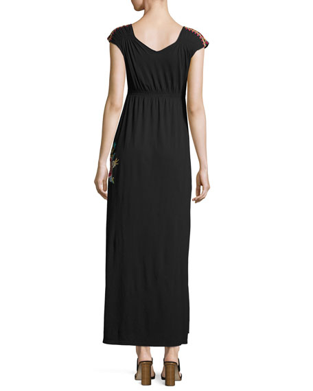 Lucia Embroidered Jersey Maxi Dress, Black, Petite