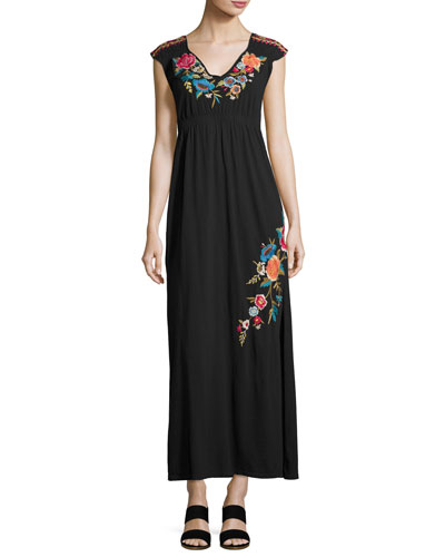 Lucia Embroidered Jersey Maxi Dress, Black, Plus Size