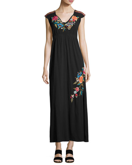 Johnny Was Lucia Embroidered Jersey Maxi Dress, Black