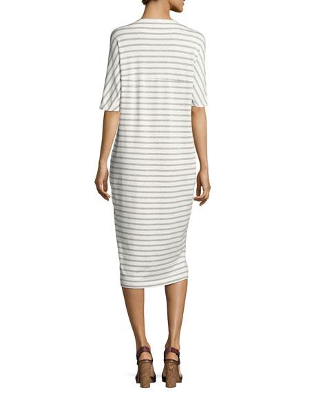 Vedika Striped V-Neck Dress, White/Gray