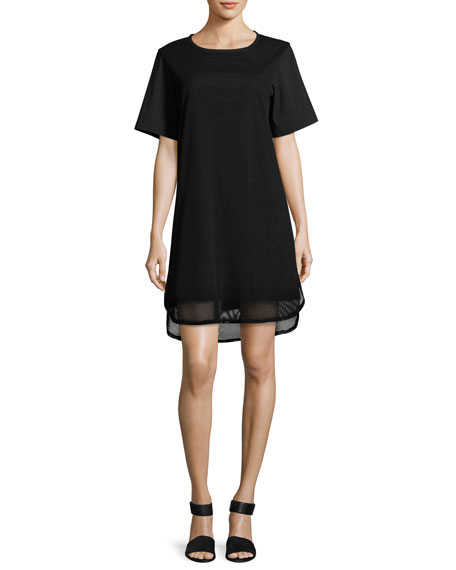 Finley Shawn Short-Sleeve Mesh Dress, Black