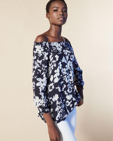 Raelyn Off-the-Shoulder Floral-Print Blouse, Ink Multi