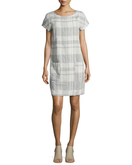 Eileen Fisher Airy Organic Linen/Cotton Plaid Shift Dress,