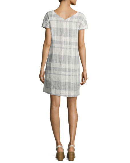 Airy Organic Linen/Cotton Plaid Shift Dress, Chambray, Petite
