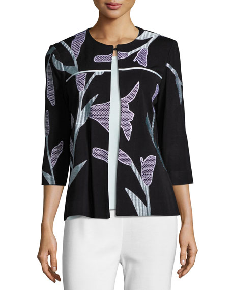Graphic Petal 3/4-Sleeve Jacket, Petite