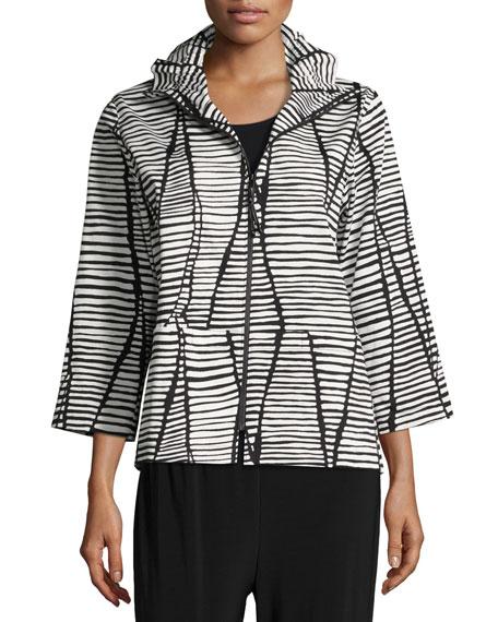 Caroline Rose Plus Size Lines & Vines Zip Jacket, Black/White