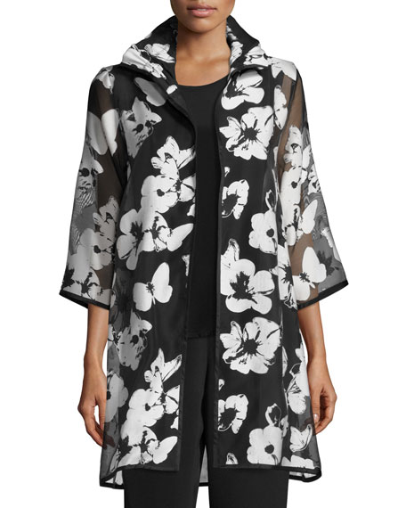 Caroline Rose Flutter Devore Sheer-Sleeve Topper, Black/White,