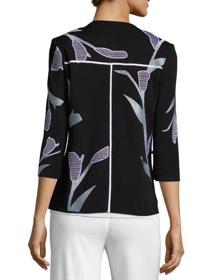 Graphic Petal 3/4-Sleeve Jacket, Plus Size