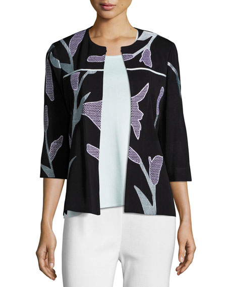 Misook Graphic Petal 3/4-Sleeve Jacket, Plus Size