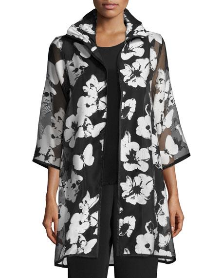 Caroline Rose Flutter Devore Sheer-Sleeve Topper, Black/White,