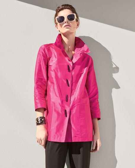 Shantung Silk Shirt Jacket
