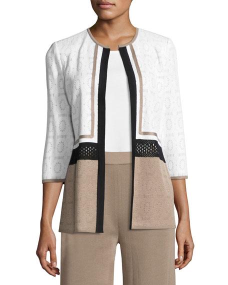 Misook Colorblock 3/4-Sleeve Jacket, Petite