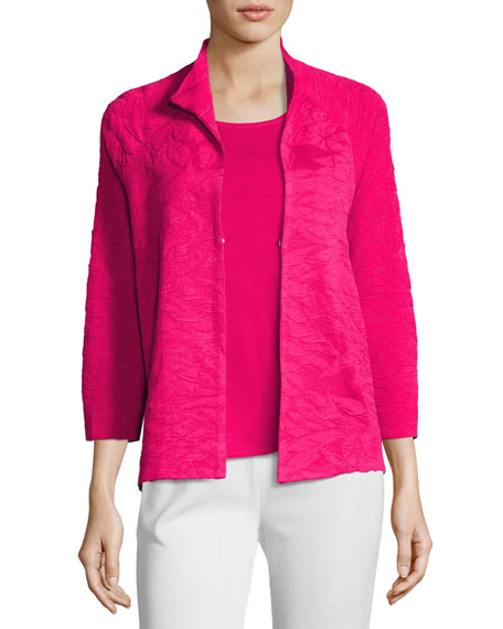 Textured 3/4-Sleeve Jacket, Petite