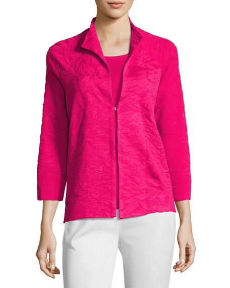 Textured 3/4-Sleeve Jacket, Plus Size