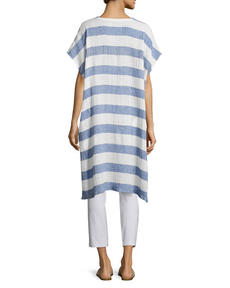 Striped Organic Linen Gauze V-Neck Tunic, Chambray, Plus Size