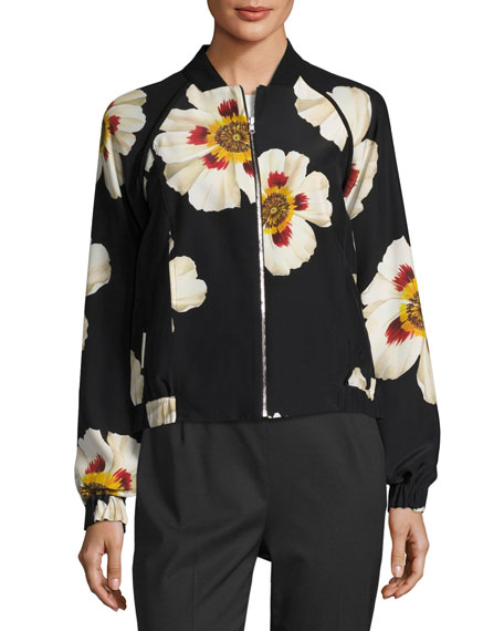 Irelyn Reversible Floral-Print Bomber Jacket, Black Multi