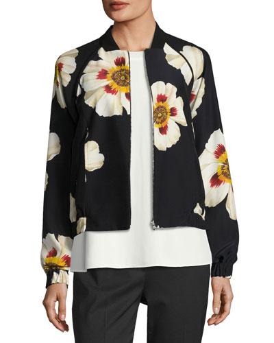 Irelyn Reversible Floral-Print Bomber Jacket, Black Multi