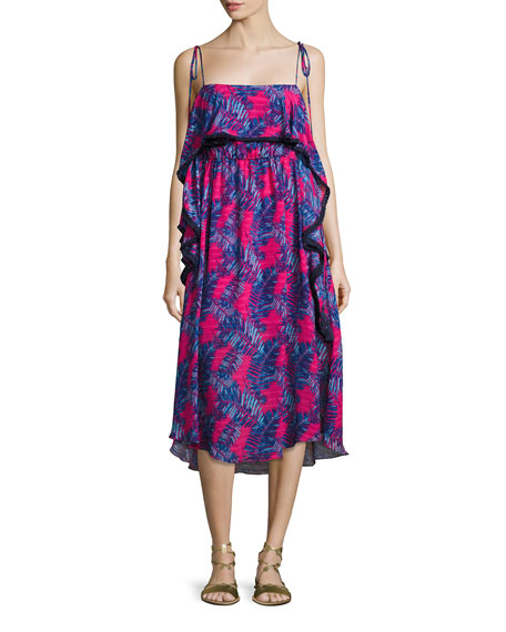 Tanya Taylor Josefina Printed Silk Midi Dress, Pink/Blue