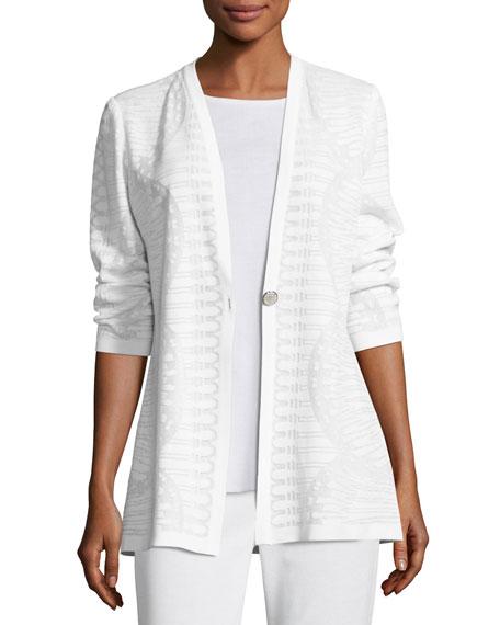 Textured Stripe-Knit Long Jacket, Plus Size