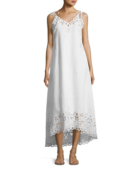 Theory Taytee Sleeveless Embroidered Maxi Dress, White