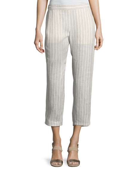Theory Thorina Narrow Striped Linen Pants, White