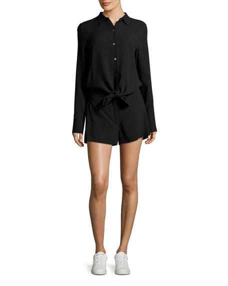 Ranay Rosina Crepe Long-Sleeve Romper, Black