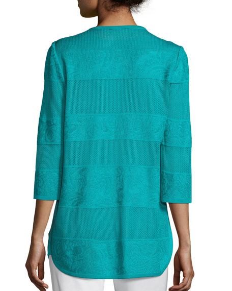 Misook Petite Textured Lines Long Jacket, Turquoise