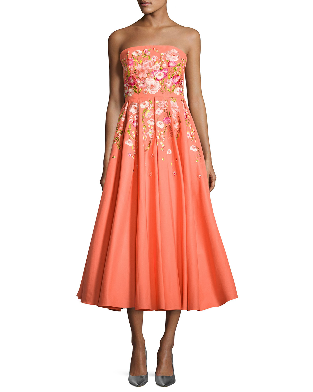 aa3b326c Marchesa Notte Strapless Embroidered Faille Tea-Length Gown, Coral ...