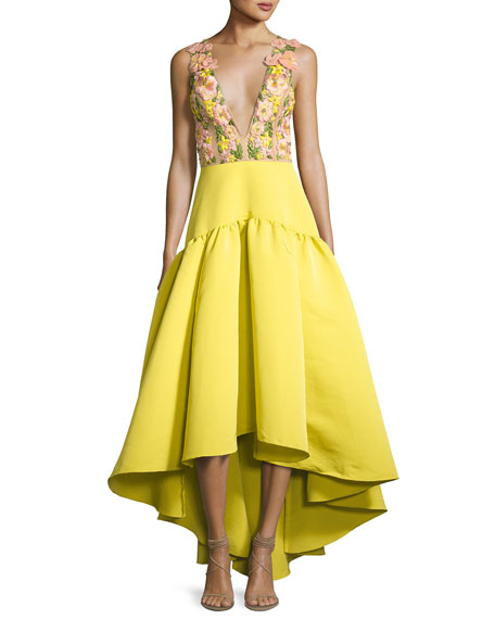 Sleeveless Floral & Crepe Gown, Chartreuse