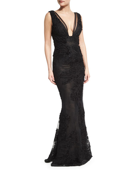 Sleeveless Embroidered Tulle Mermaid Gown, Black