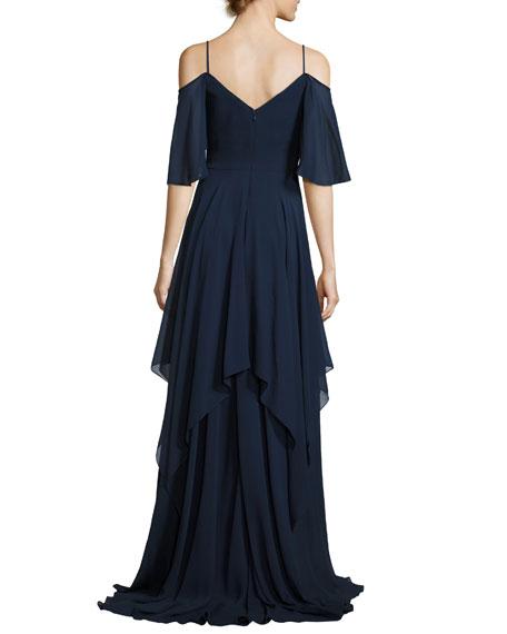 Cold-Shoulder Silk Georgette Gown, Blue