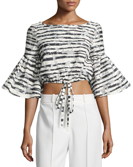 Milly Lydia Floral Striped Burnout Crop Top, Black