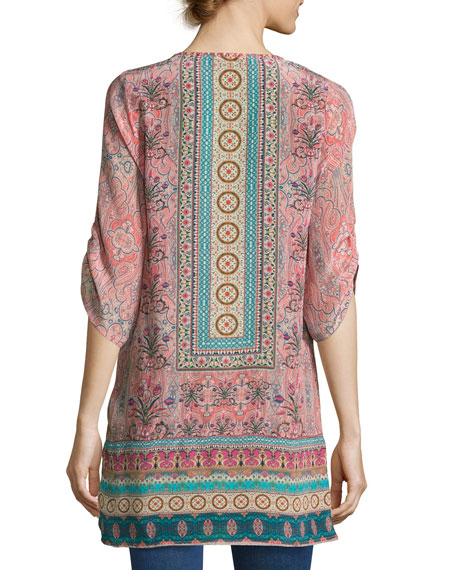 Evie Long Printed Tunic, Rose, Plus Size