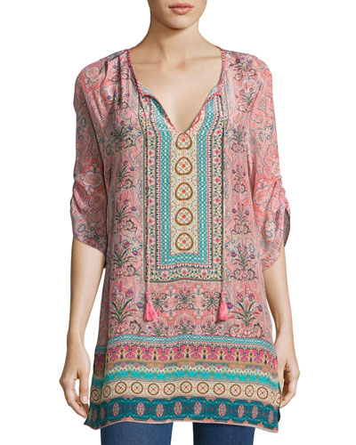 Evie Long Printed Tunic, Rose