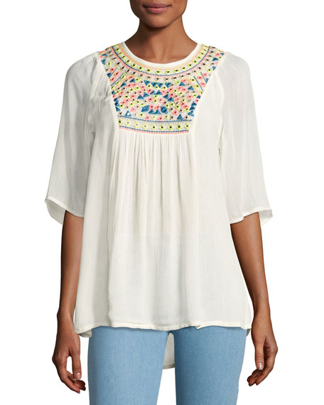 Tolani Heather Embroidered & Sequined Tunic, White, Plus